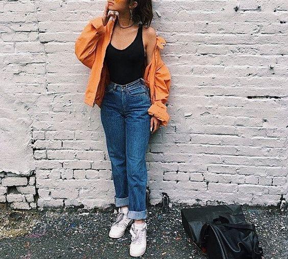 High Waist jeans With Orange Shirt