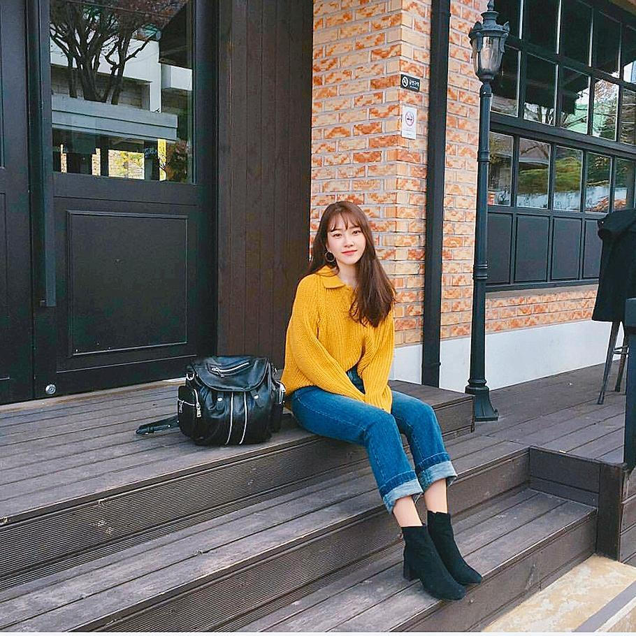 Impressive Mustard Sweater With Ankle Boots