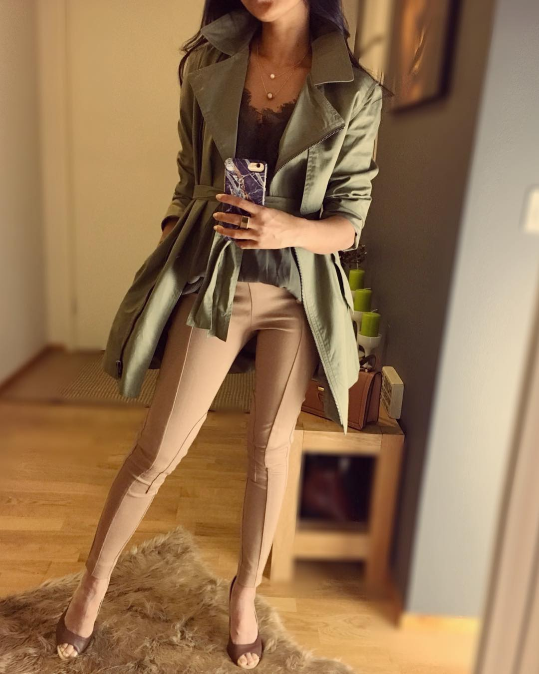 Khaki Trench Coat With Natural Jagging