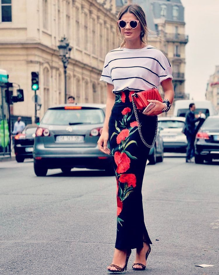 Modern Floral Skirt With Stripes Top