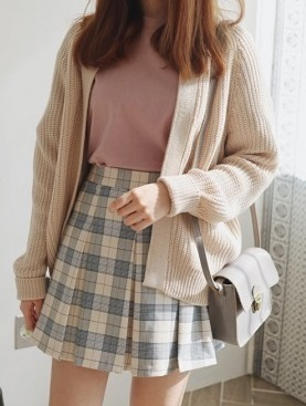 Open Sweater With Check Mini Skirt