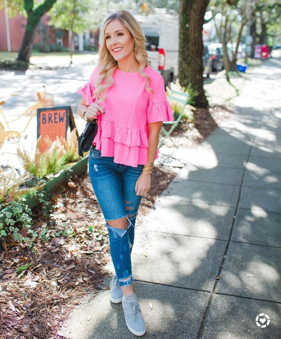 Pink Ruffles Top With Distressed Jeans