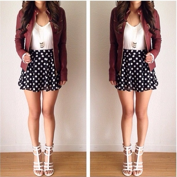 Polka Dots Short Skirt With Leather Jacket