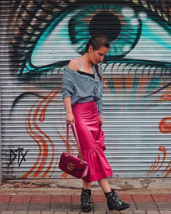 Pretty Street Style Magenta Skirt With Check Shirt And High Heel Booties