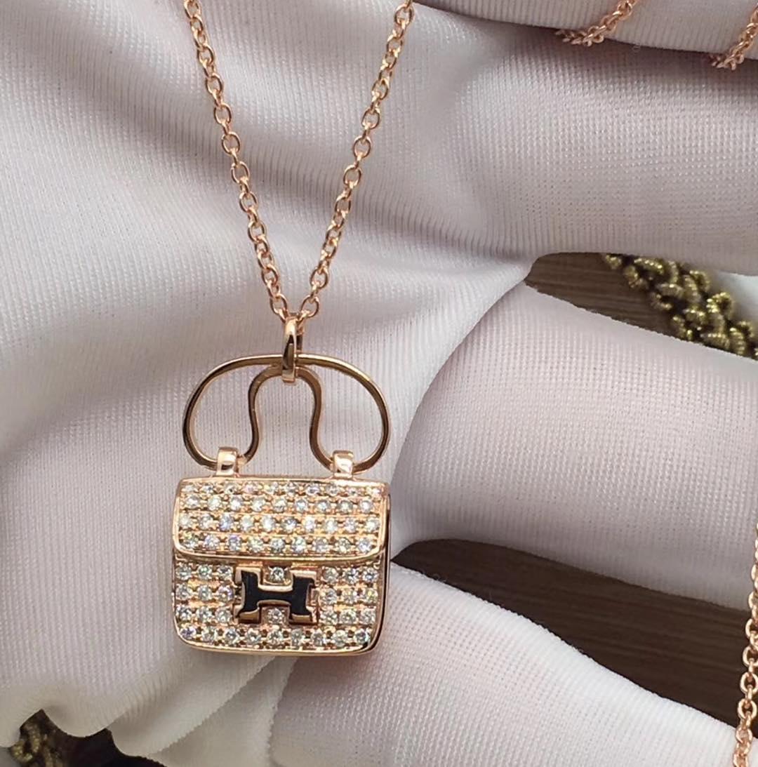 Rocking Rose Gold Purse Shape Diamond Pendant