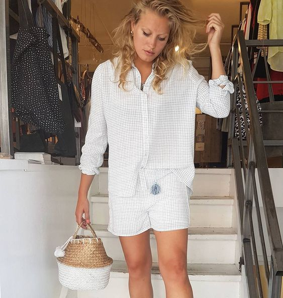 Superb Check Button Down Shirt With Matching Shorts