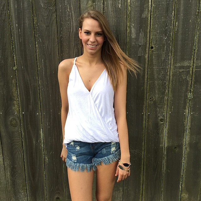 Swanky White Tank Top With Shorts