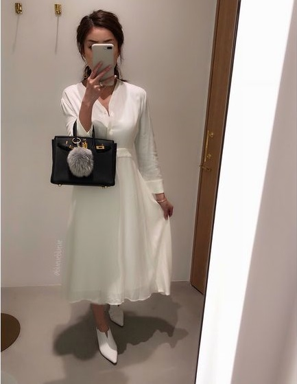 Trendy White Dress With Matching Footwear