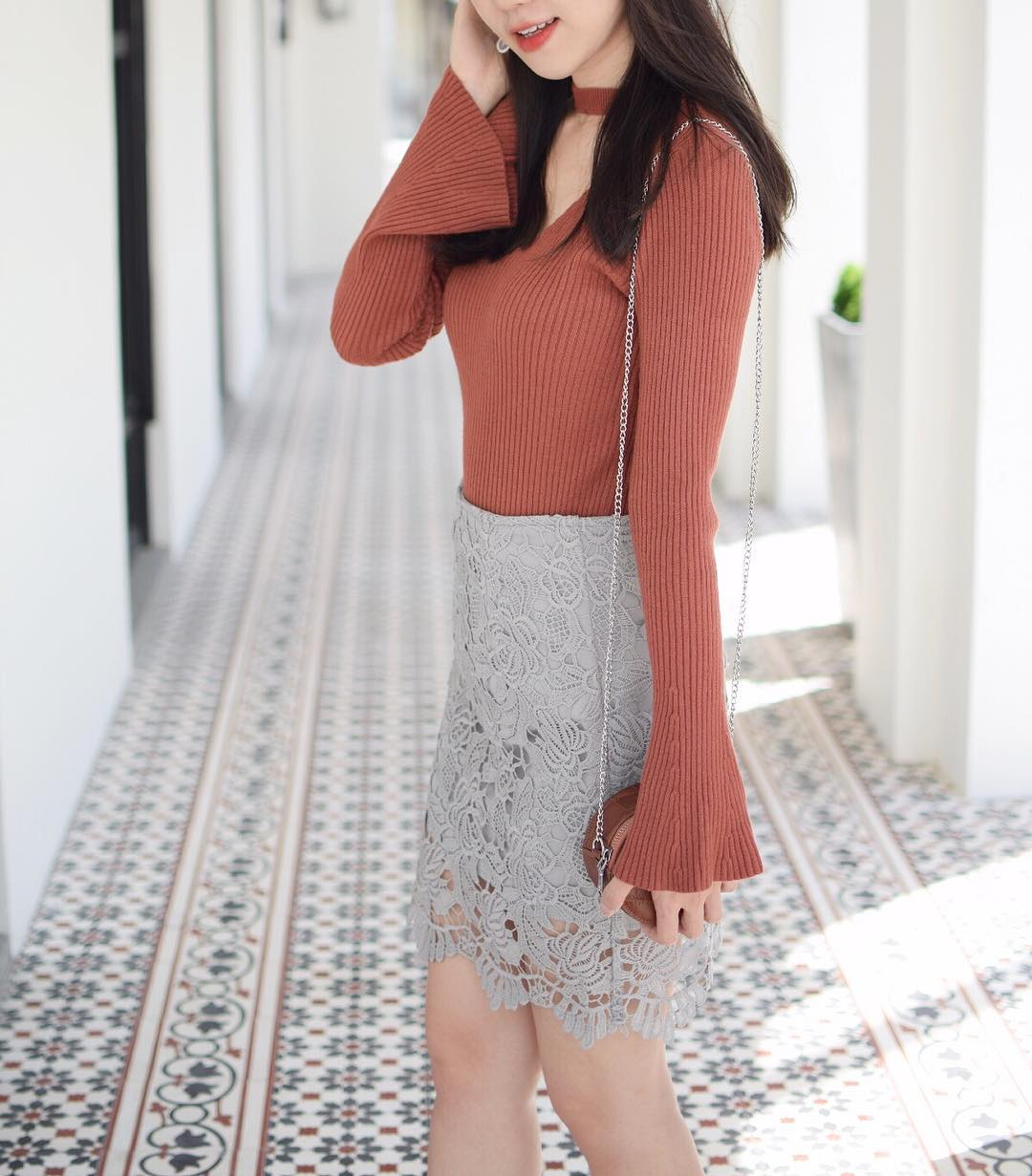 Vibrant Lace Skirt With Sweater