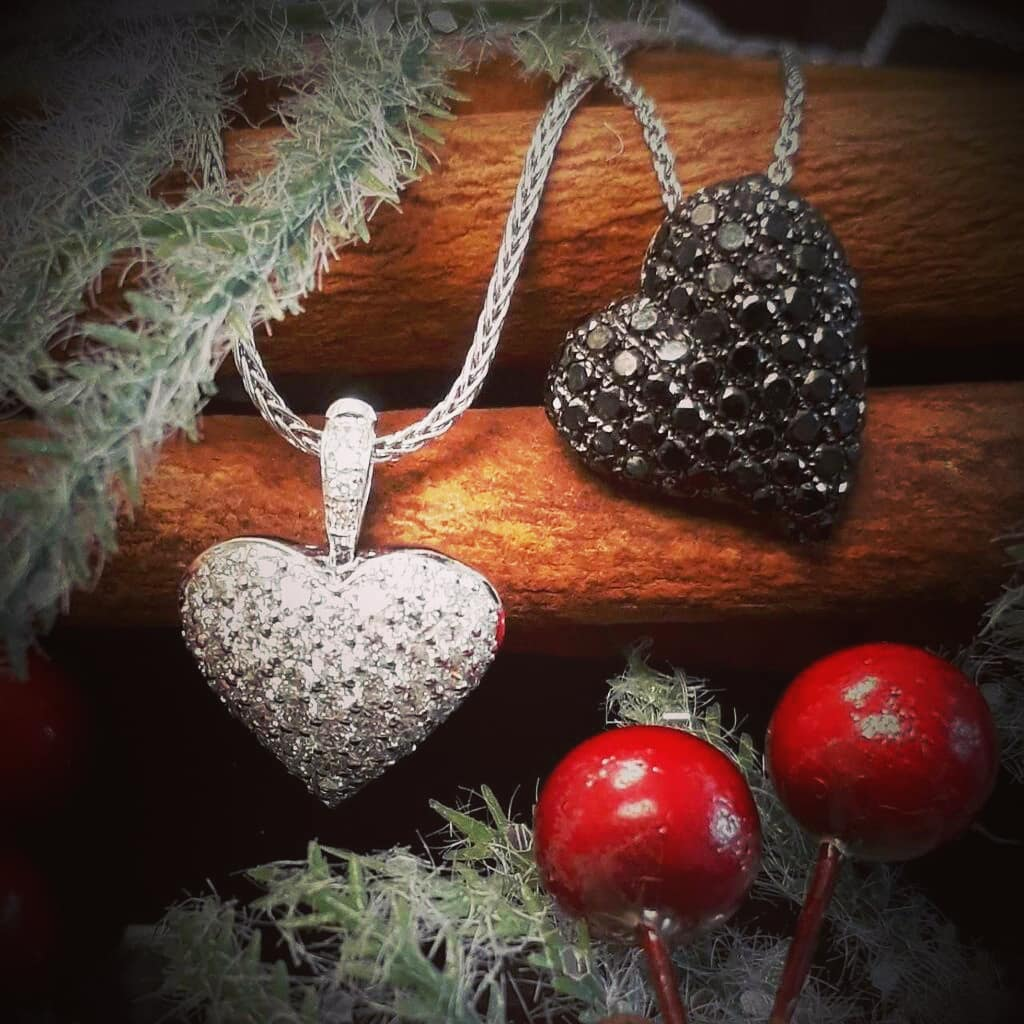 White And Black Diamond Set Heart Pendants