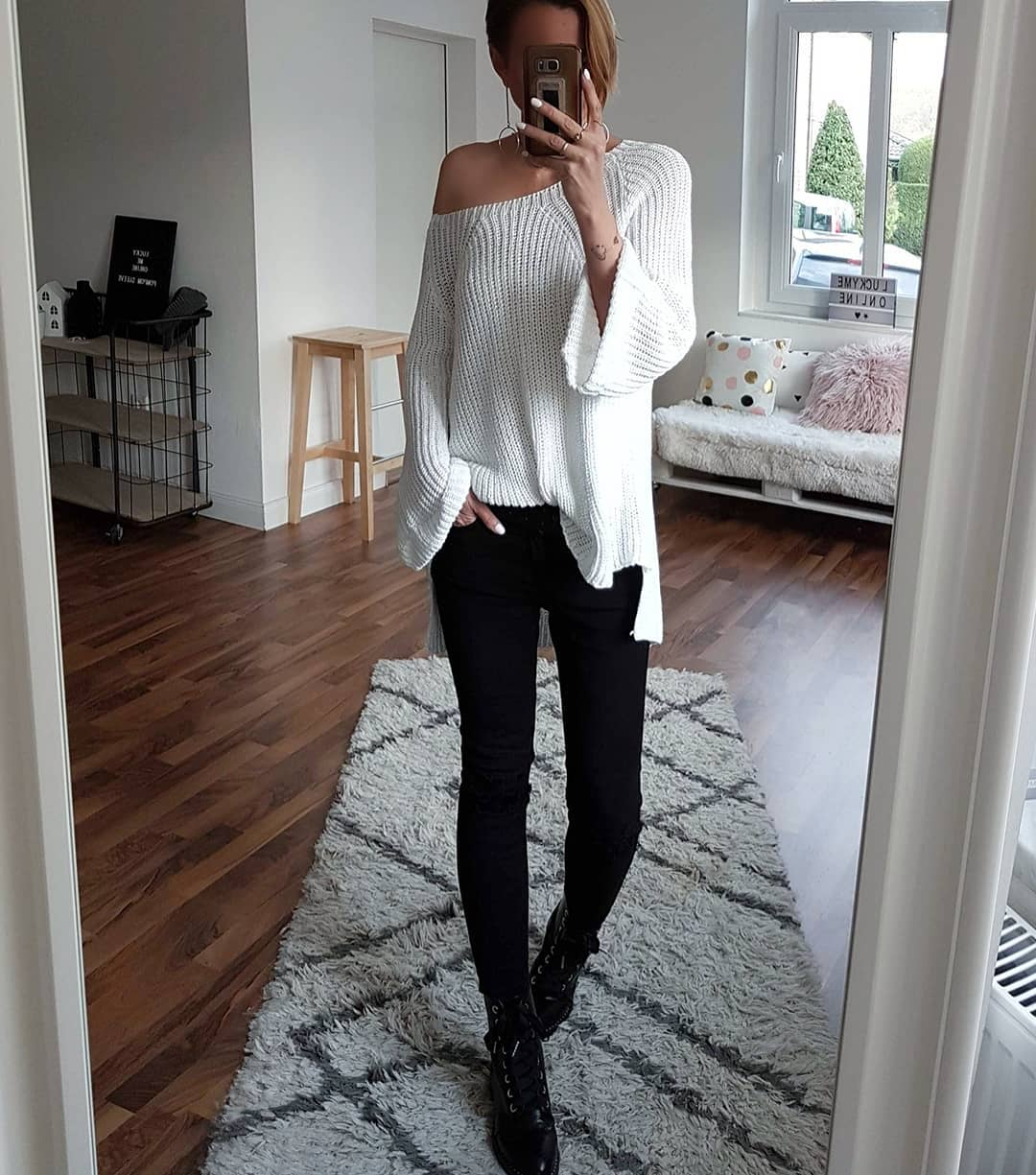 White Oversized Sweater With Jeans Perfect For Spring