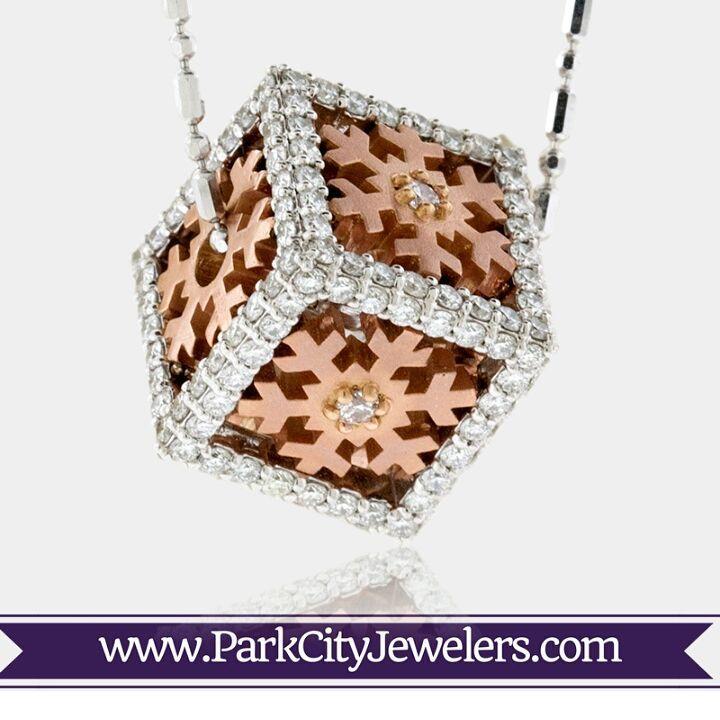 Wonderful White & Rose Gold Snowflake Cube Pendant