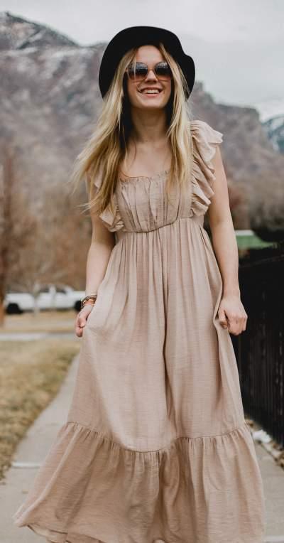 Amazing Beige Ruffle Maxi Dress - Blurmark - photo#23