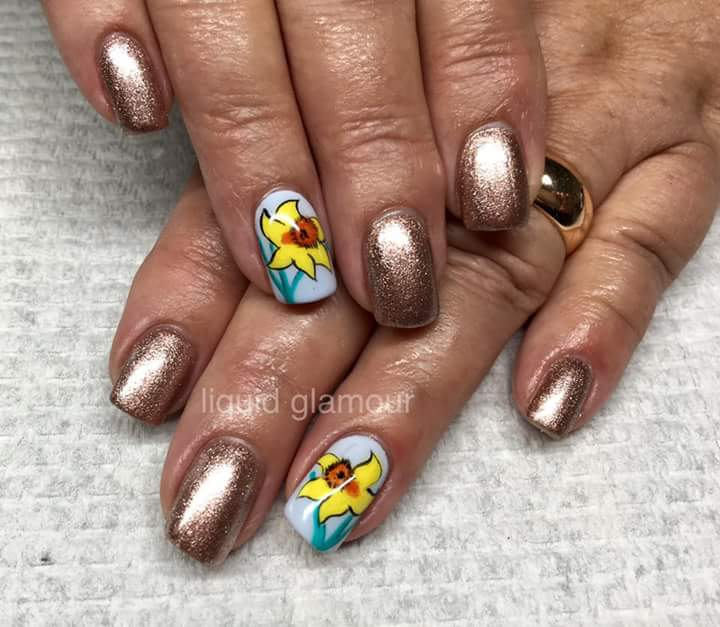 Amazing Copper Nails Yellow Flowers