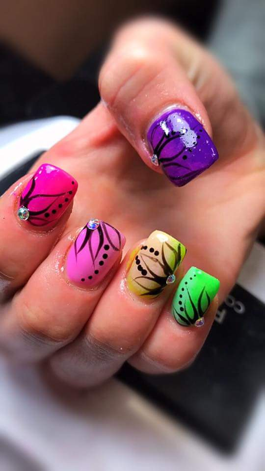Awesome Strokes Of Color Nail Art With Flowers For Summer