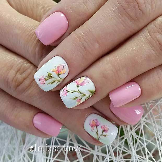 Baby Pink Nails With Flower Branches