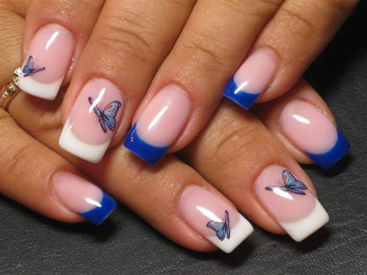 Best Blue & White Summer French Nails With Flying Butterfly