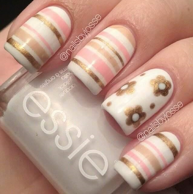 Charismatic Golden Summer Nails With Stripes And Flowers