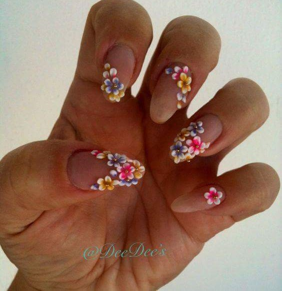 Creative Colorful Flowers Stick On Nails