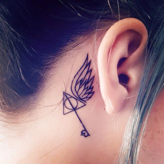 Dashing Small Harry Potter Tattoo Behind The Ear