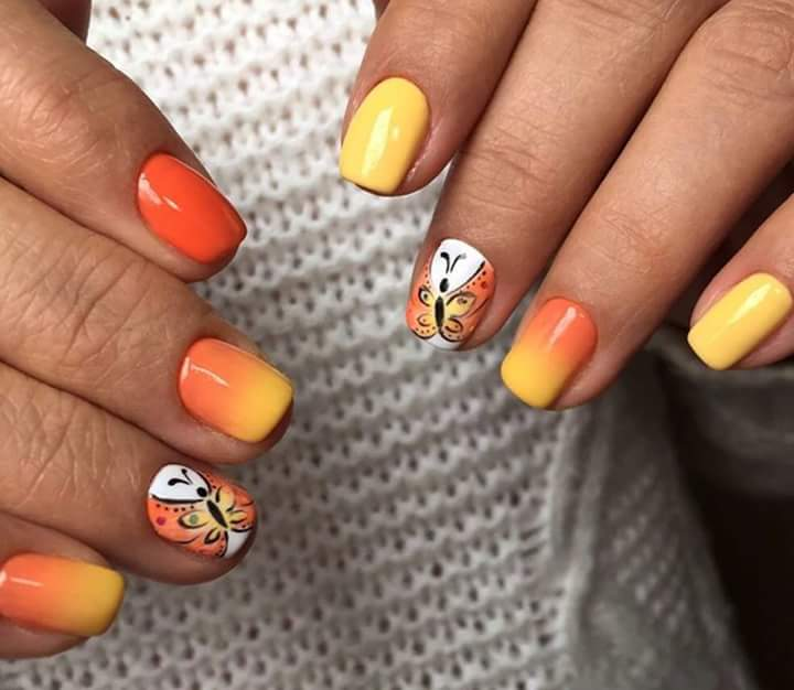 Dashing Yellow And Orange Nail With Butterfly