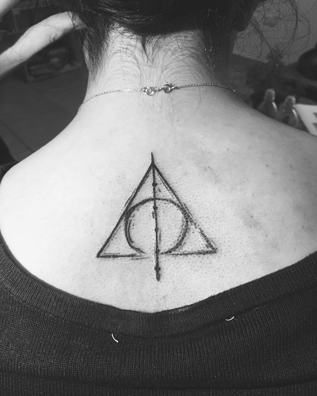 Death Hallow Harry Potter Tattoo On Back