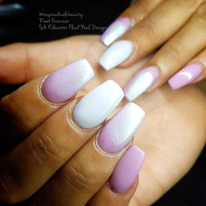 Double Tone Shady Purple And White Nails