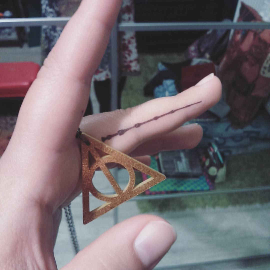 Elder Wand Tattoo On Finger From Harry Potter Book