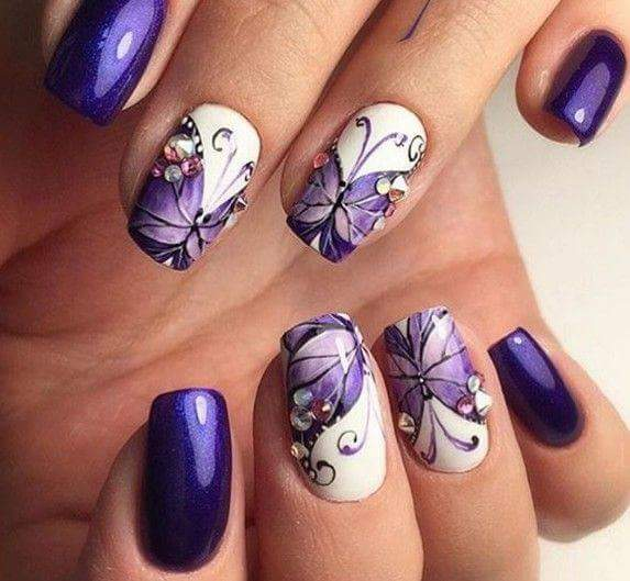 Exclusive Dark Purple Nails With Butterfly
