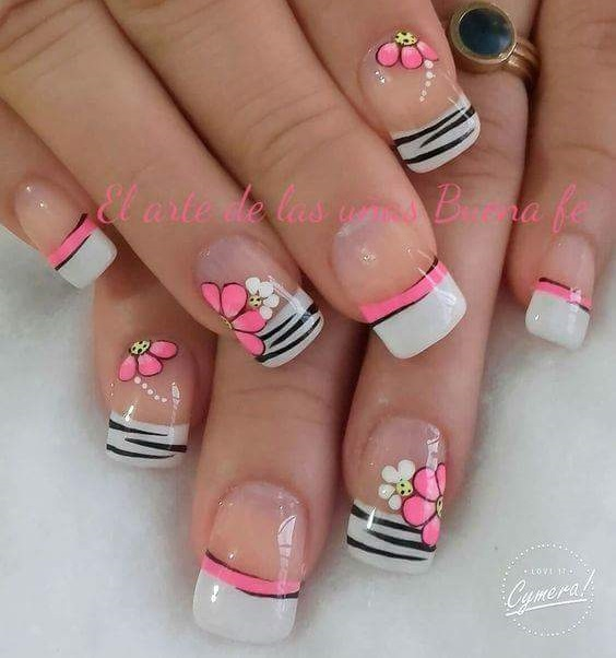 Floral Twist French Manicure Design
