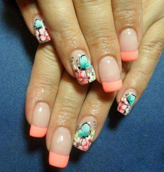 French Peach Nails With Flower For Summer