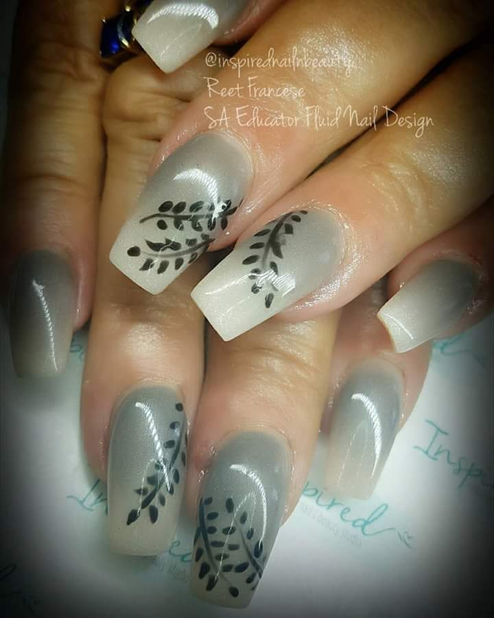 Gray Nails With Black Leaf