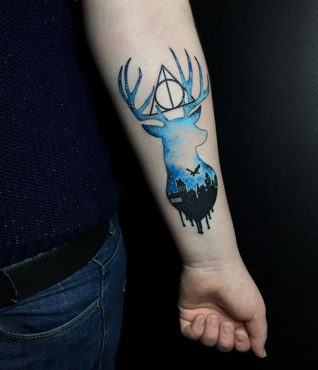 Memorable Blue Harry Potter Tattoo Design Blurmark