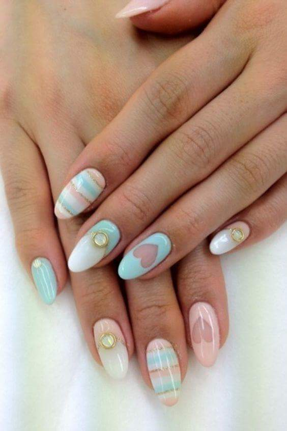 Negative Space Heart Nails With Crystal