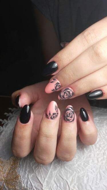 Peach Nails With Black Rose