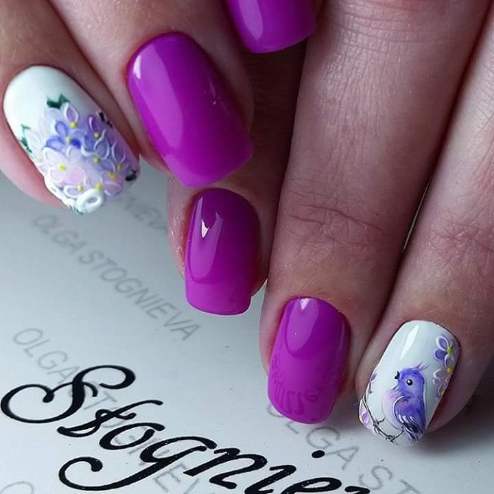 Purple And White Floral Nail Art With Bird