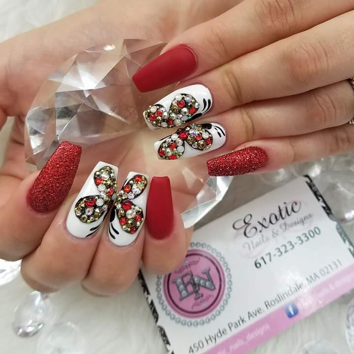 Ravishing Red & White Crystal Butterfly On Nails