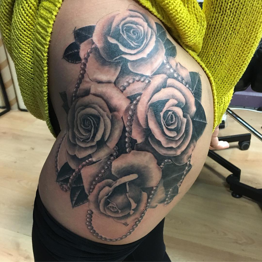 Rocking Black Grey Rose Tattoo On Hip Blurmark