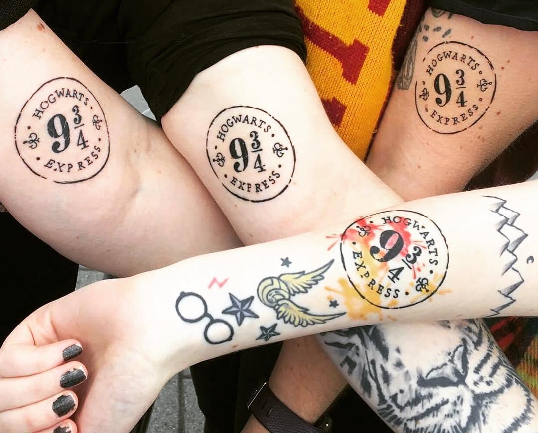 Rocking Matching Harry Potter Symbol Tattoos