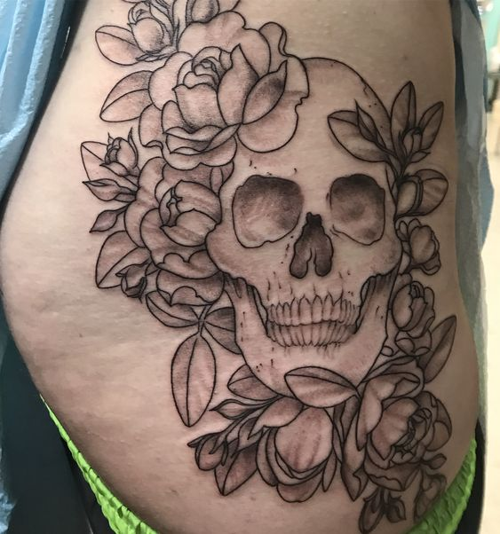 Roses With Skull Tattoo On Side Hip