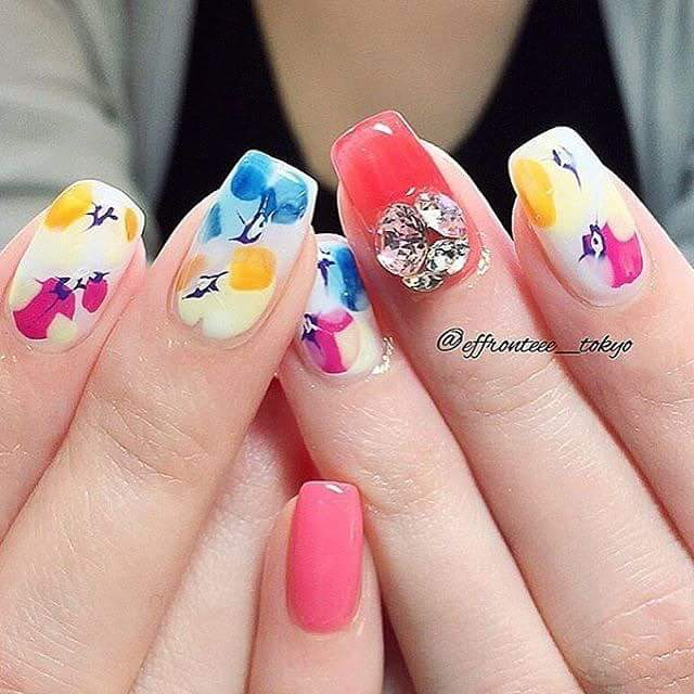 Stone studded watercolor Painted Nails For Summer