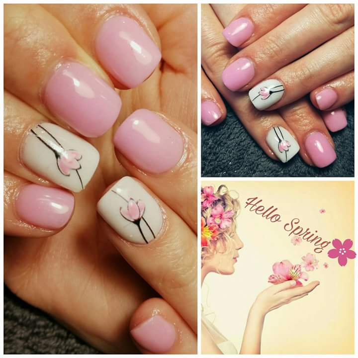 Summer Peachy Nail Art With Flowers