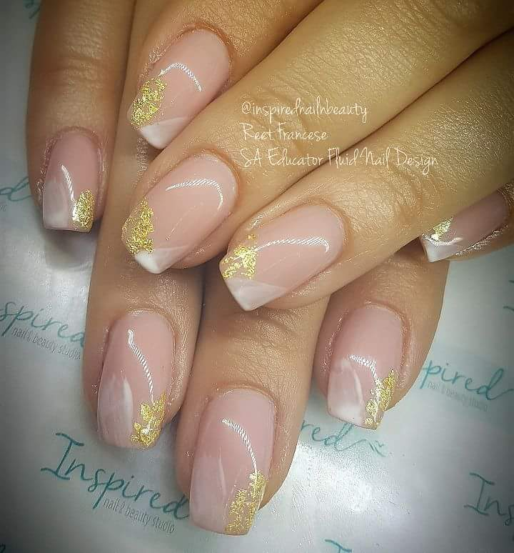 Transparent Nails With Patch Of Gold