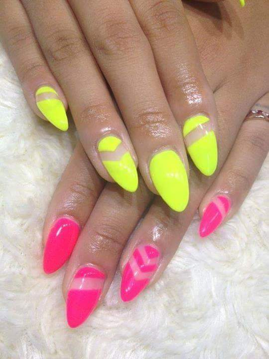 Ultimate Negative Space Neon Pink And Yellow Nails - Blurmark