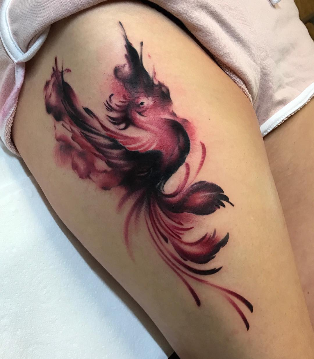 Wonderful Phoenix Thigh Harry Potter Tattoo