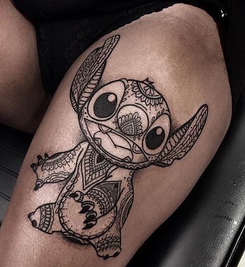 thigh tattoo tattoos stitch artistic leg blurmark lilo tatoos outline awesome thightattoo cute dragon blowing mind stich gorgeous put point