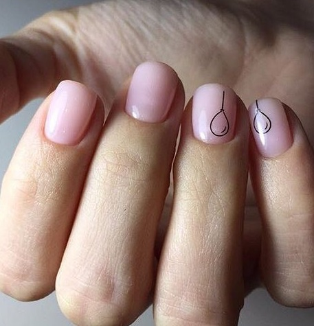 Baby Pink Gel Nails With Balloons
