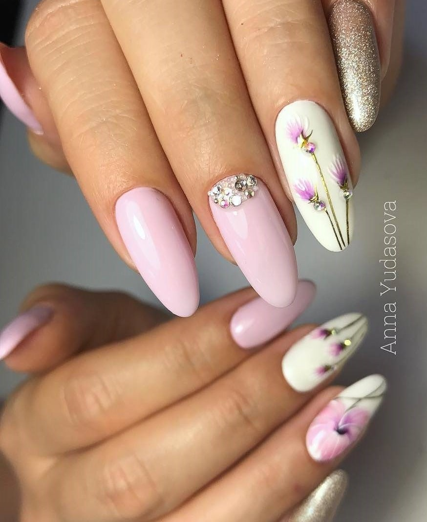Crystal Summer Designs In Soft Pink Shades For Long Coffin Nails