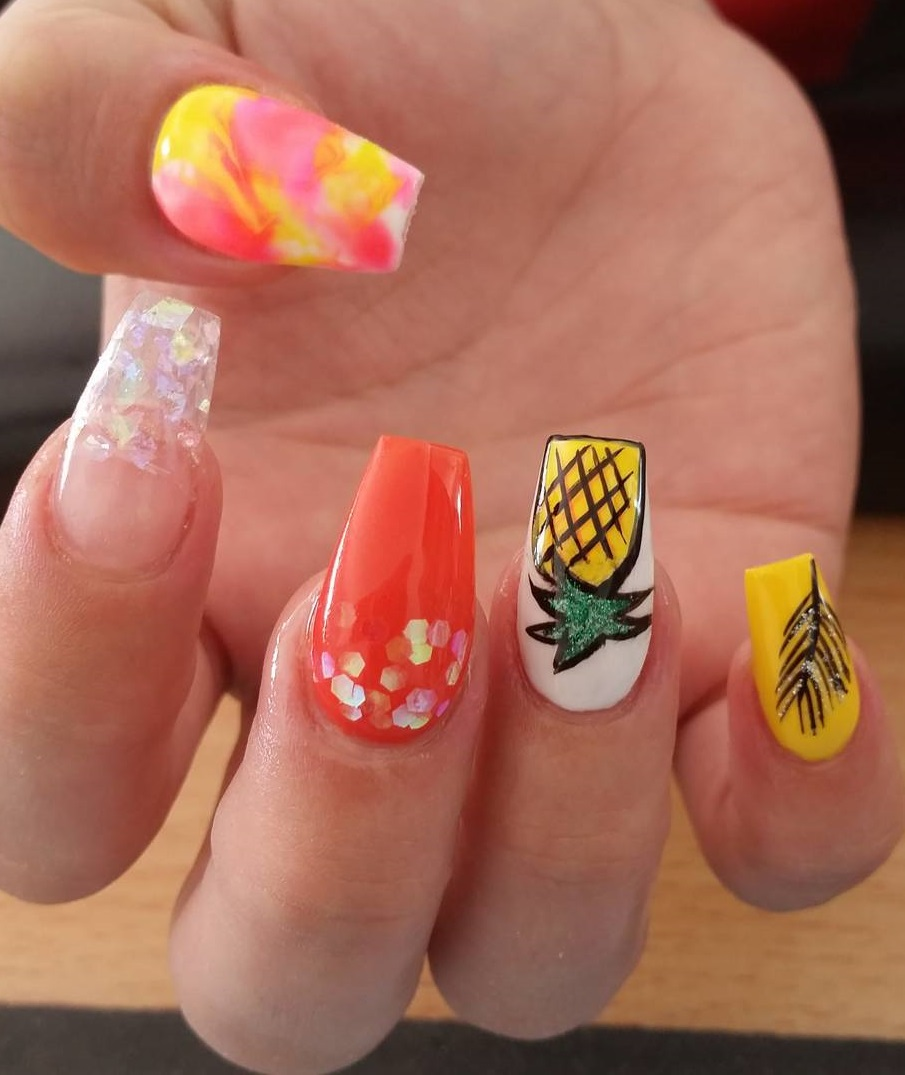 Long Colorful Coffin Nails With Beautiful Design - Blurmark