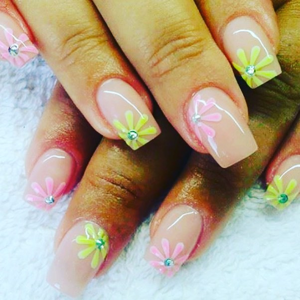 Pink And Yellow Flower Nail Art With A Glossy Touch Blurmark